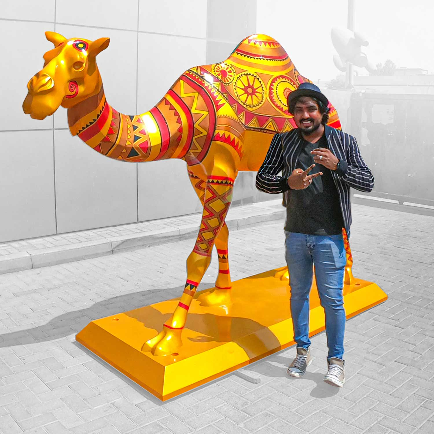 Mural on a life size camel sculpture in UAE