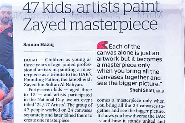 47 kids, artists paint Zayed masterpiece