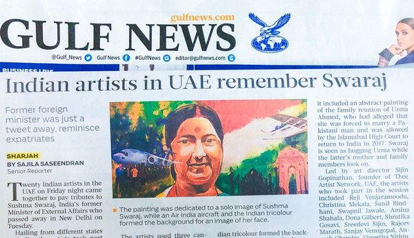 UAE artists remember Swaraj through live painting - Gulf News