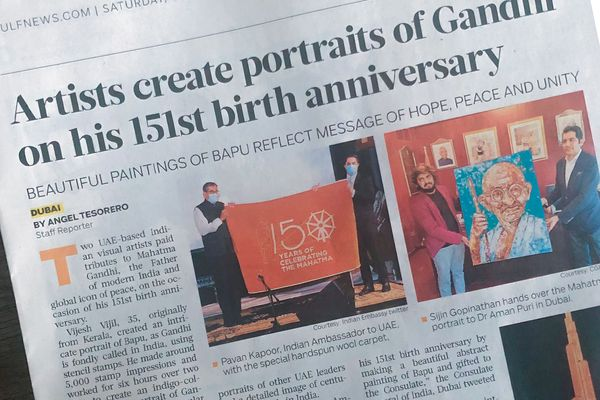 UAE-based Indian artists create endearing portraits of Mahatma Gandhi to celebrate his 151st birth anniversary
