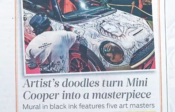 Artist's Doodle turn Mini Cooper into Masterpiece.